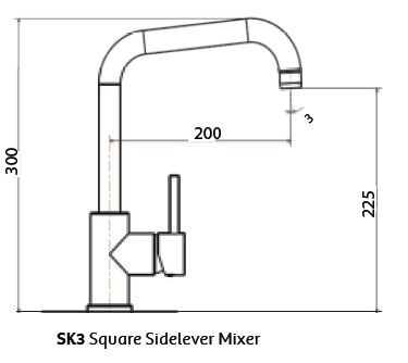 Gareth Ashton Lucia Square Side Lever Sink Mixer specifications
