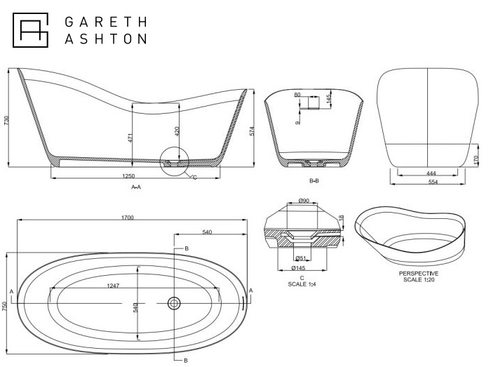 Abey Gareth Ashton Slipper Natural Stone Bath specifications