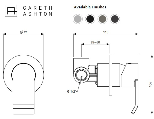 Abey Gareth Ashton Stile Bath / Shower Mixer specifications