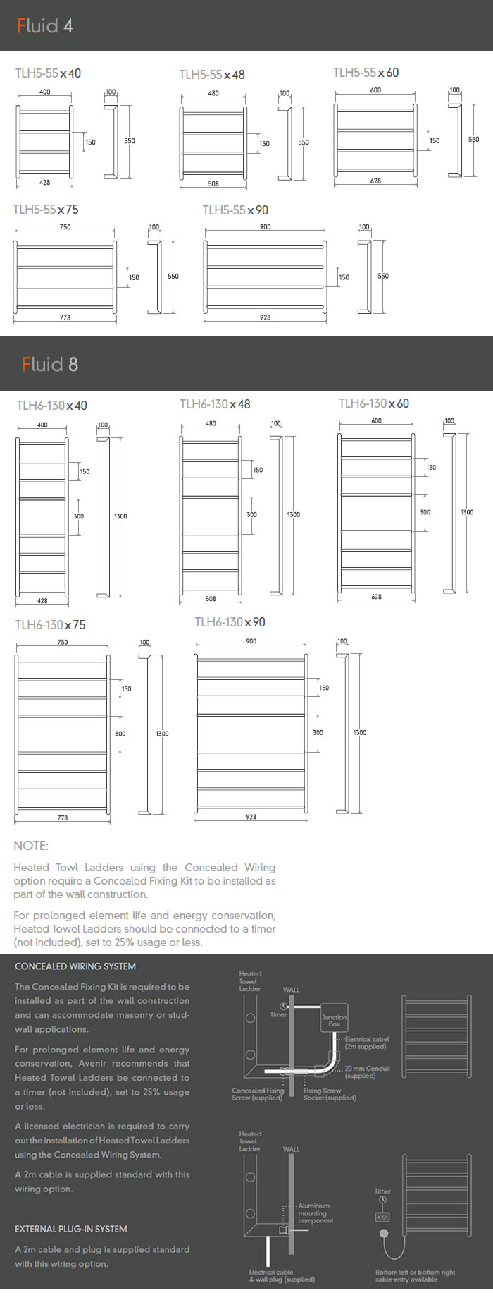 Avenir Fluid Heated Towel Ladder specifications