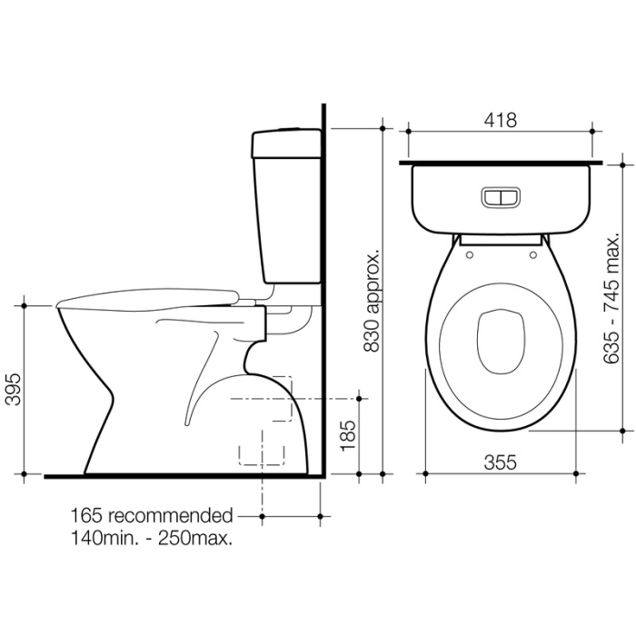 Caroma Aire Concorde Toilet Suite specifications