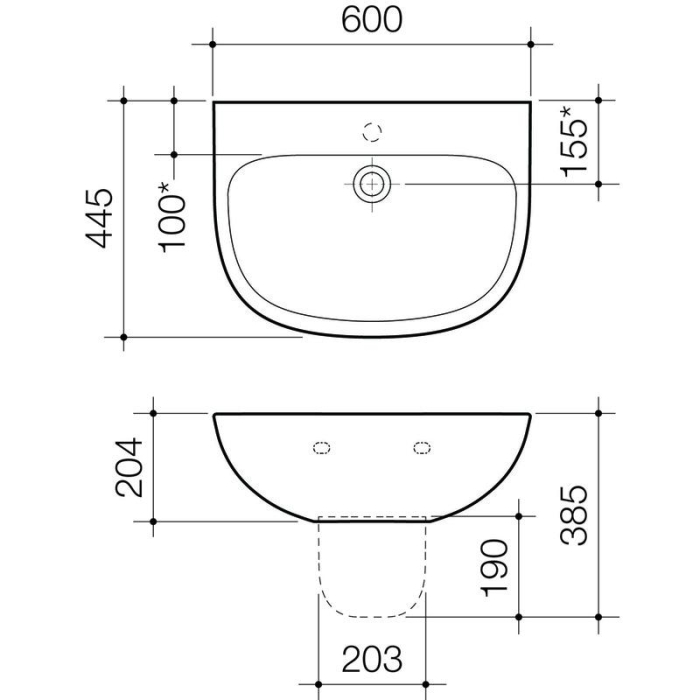 Caroma Care 600 Wall Basin specifications