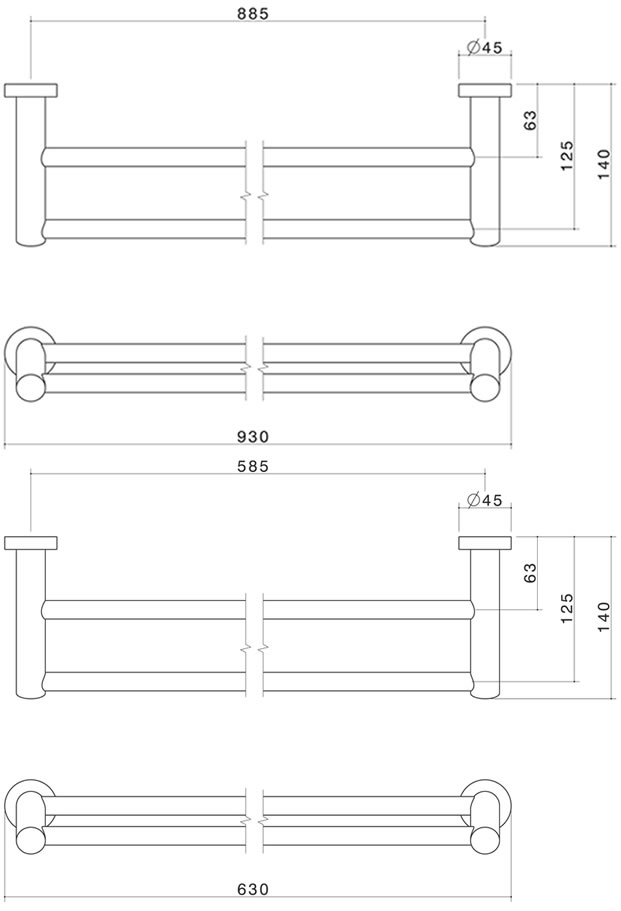 Caroma Cosmo Double Towel Rail specifications