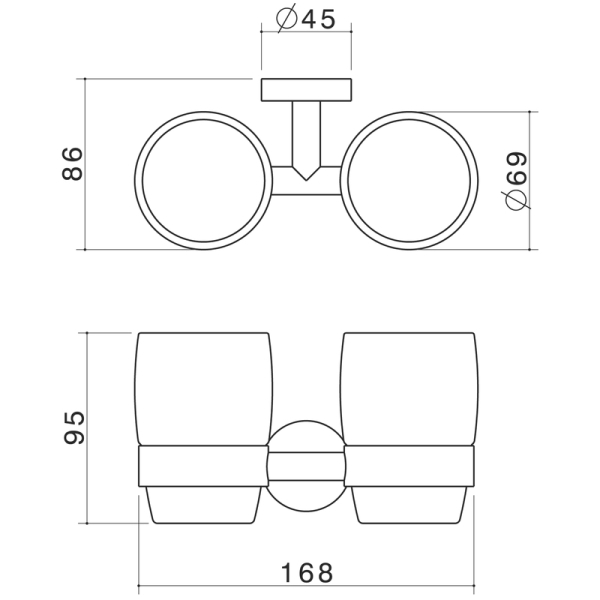 Caroma Cosmo Double Tumbler Holder specifications