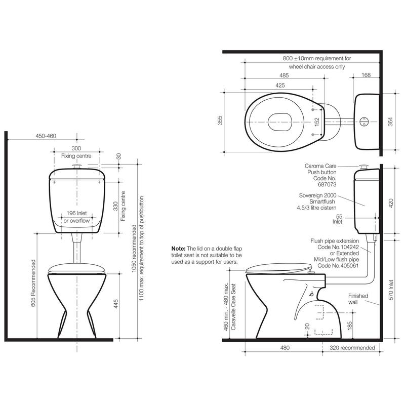 Caroma Cosmo Sovereign Care Toilet Suite specifications