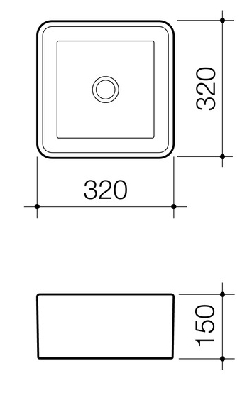 Caroma Cube 320mm Above Counter Basin specifications
