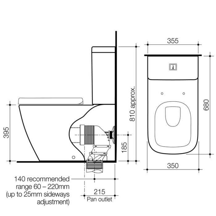 Caroma Cube Back to Wall Toilet Suite specifications
