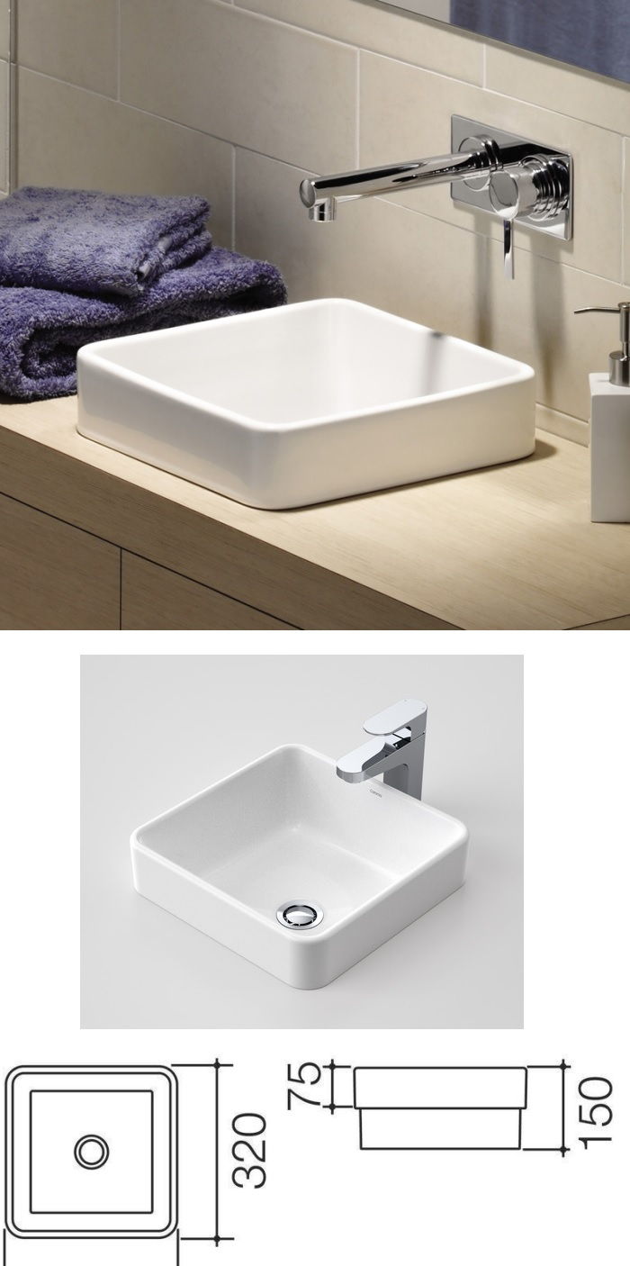 Caroma Cube 320mm Inset Basin specifications