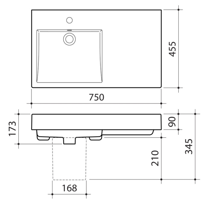 Caroma Liano Nexus 750mm Extended Wall Basin specifications