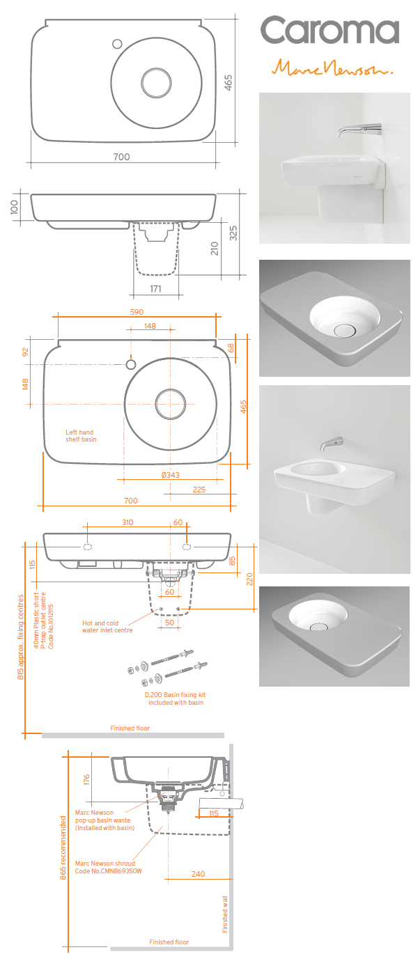 Caroma Marc Newson Wall Shelf Basin specifications