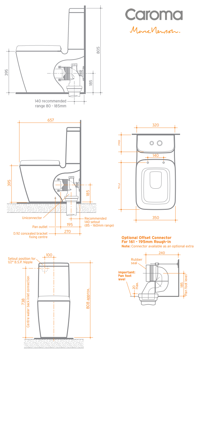 Caroma Marc Newson BTW Toilet Suite specifications