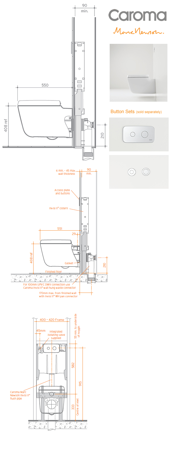 Caroma Marc Newson Wall Hung Invisi II Toilet Suite specifications