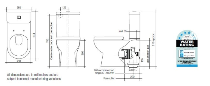 Linea Neo Toilet Suite (Rear Inlet) specifications