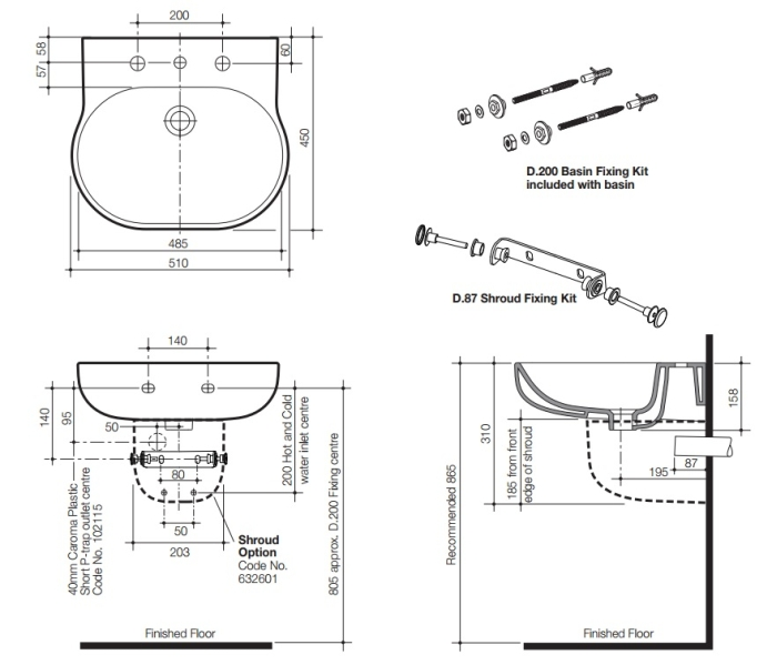 Caroma 510 Wall Basin specifications