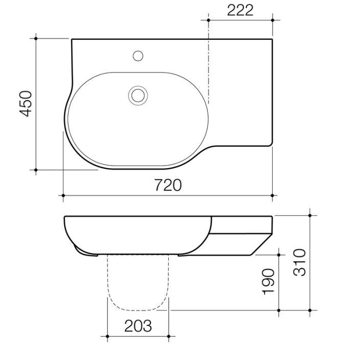 Caroma Opal 720 Wall Basin specifications