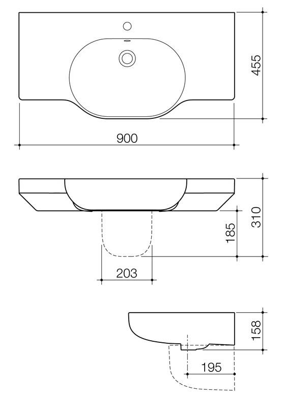 Caroma Opal 900 Twin Wall Basin specifications