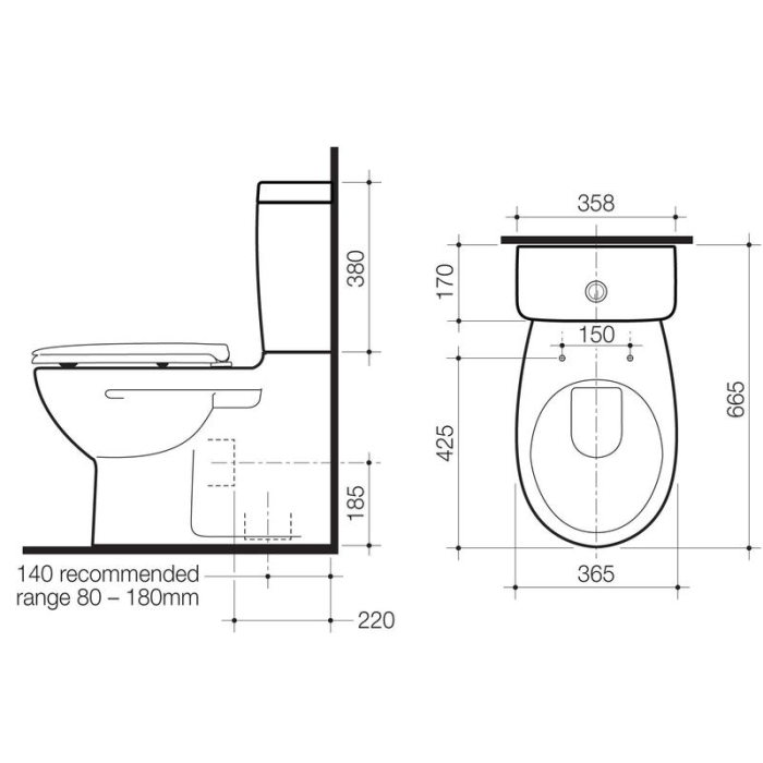 Caroma Stirling Wall Faced Toilet Suite specifications