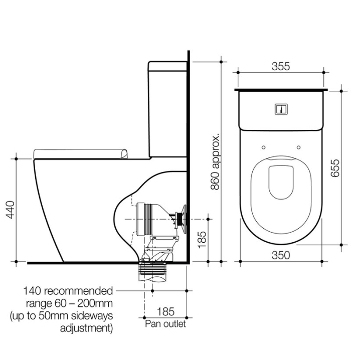 Caroma Urbane Cleanflush Wall Faced Toilet Suite specifications
