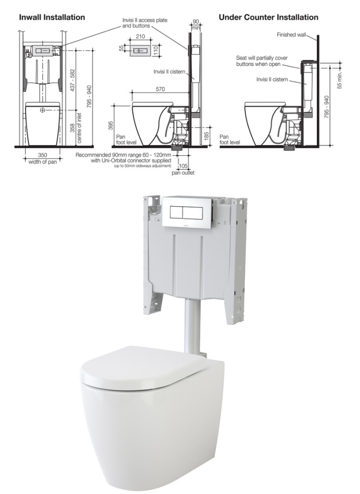 Caroma Urbane Wall Faced Toilet Suite specifications