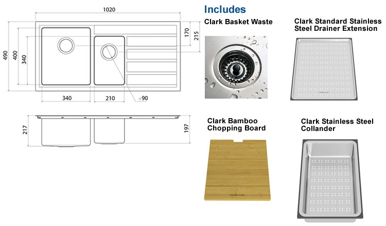 Clark Pete Evans 1.5 End Bowl Undermount Sink specifications