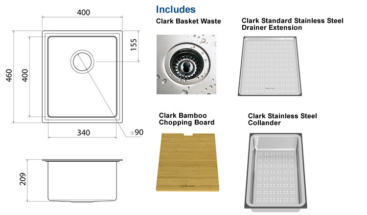 Clark Pete Evans Single Bowl Undermount Sink specifications