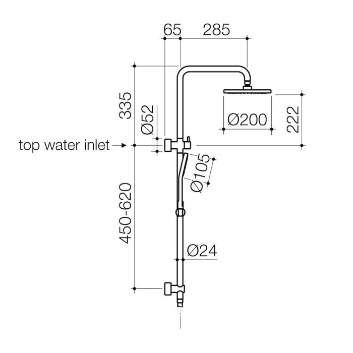 Clark Round Rail Shower with Overhead Chrome specifications