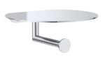 Clark Round Chrome Toilet Roll Holder with Shelf