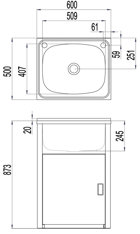 Clark Utility 42L Laundry Trough and Cabinet specifications