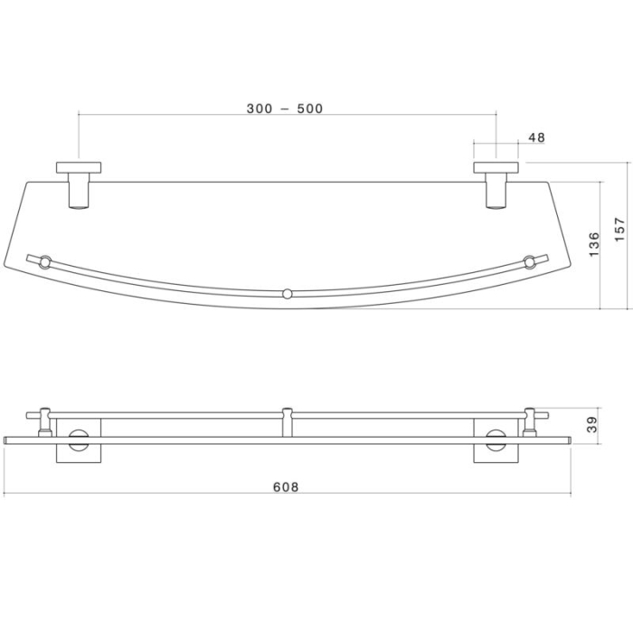 Dorf Enix Glass Shelf specifications