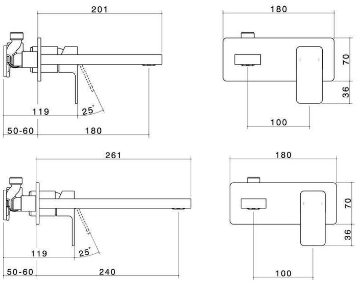 Dorf Epic Platemount Wall Bath Mixer specifications