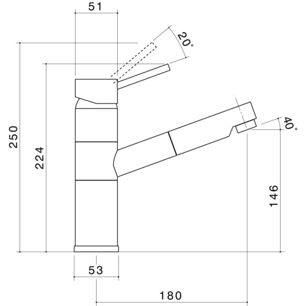 Dorf Krysten Veggie Spray Sink Mixer specifications
