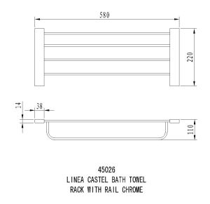 Linea Castel Bath Towel Rack with Rail specifications