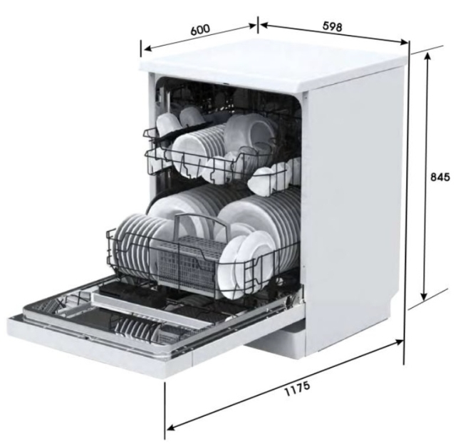 Euro Sienna 60cm 6 Function Dishwasher specifications