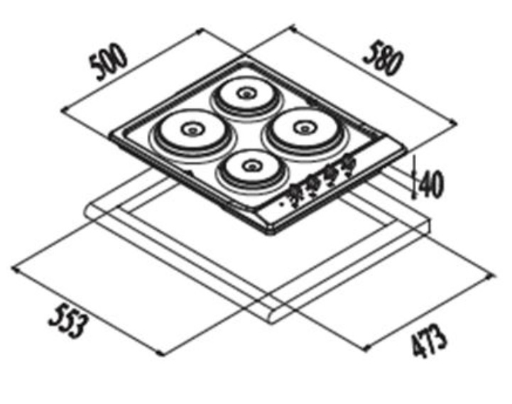 Euro Valencia 60cm Electric Cooktop specifications