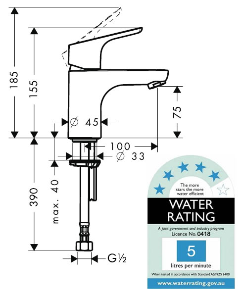 Hansgrohe Focus XL Basin Mixer specifications
