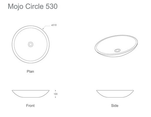 Marblo Mojo Circle 530 Basin specifications