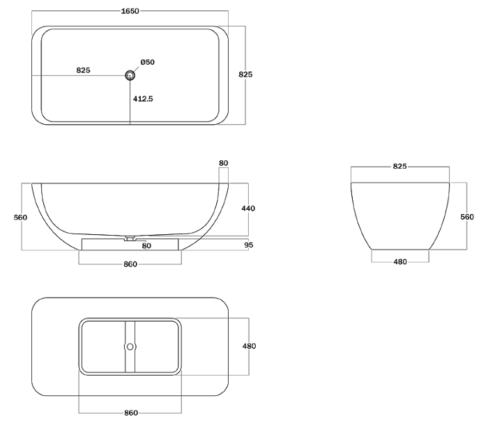Marblo Mojo Rectangle 1650mm Bath specifications