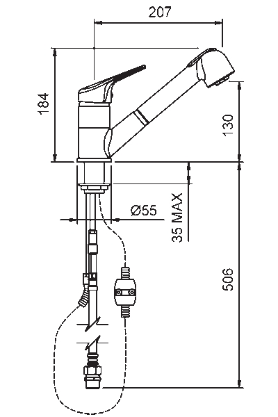 Methven Futura Sink Mixer with Pull Out Spray specifications