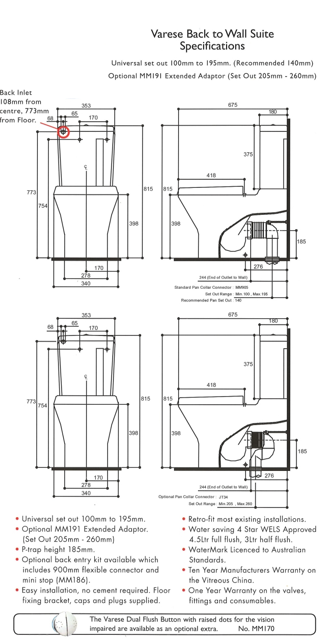Linea Varese BTW Toilet Suite specifications