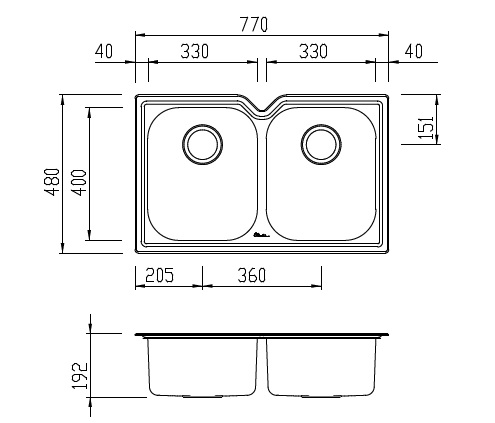 Oliveri Diaz Double Bowl Undermount Sink specifications