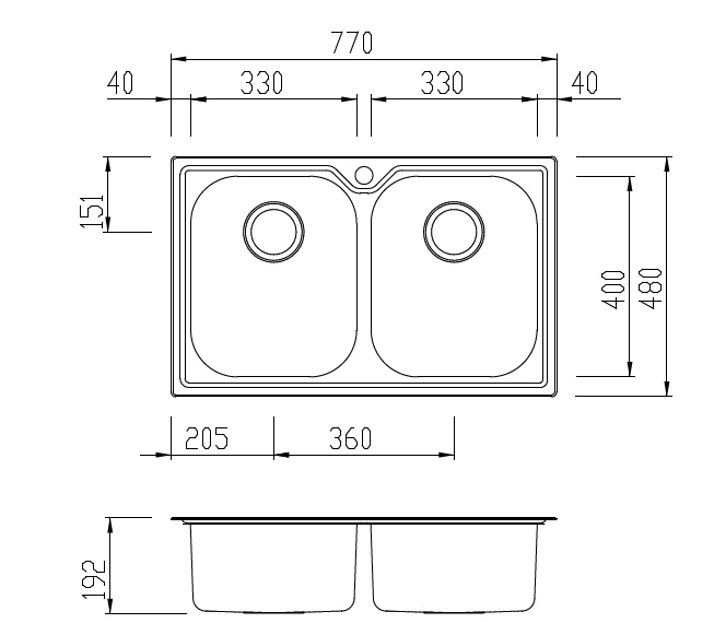 Oliveri Diaz Double Bowl Sink specifications