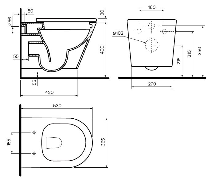 Parisi Linfa Rimless Wall Hung Toilet Pan specifications