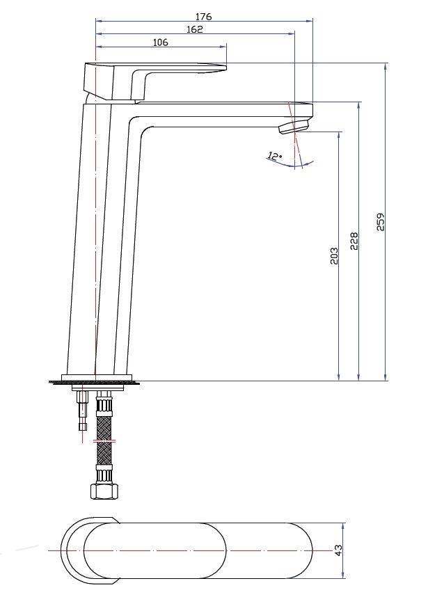 Peak Oval Tower Basin Mixer specifications