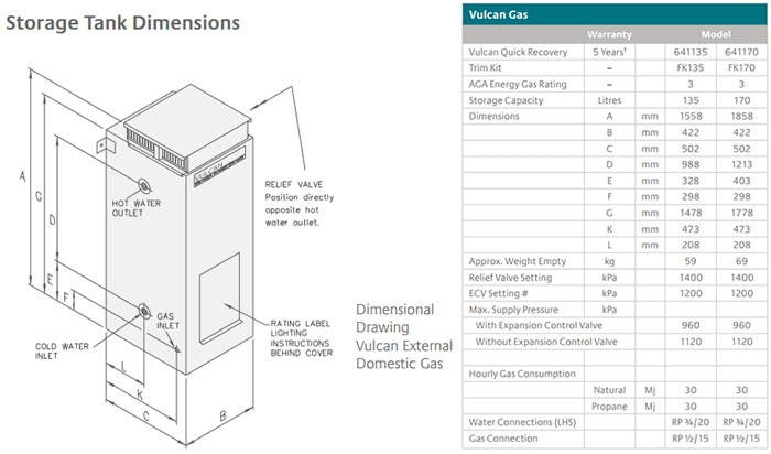 Vulcan Hot Shot 135L Gas Hot Water System specifications