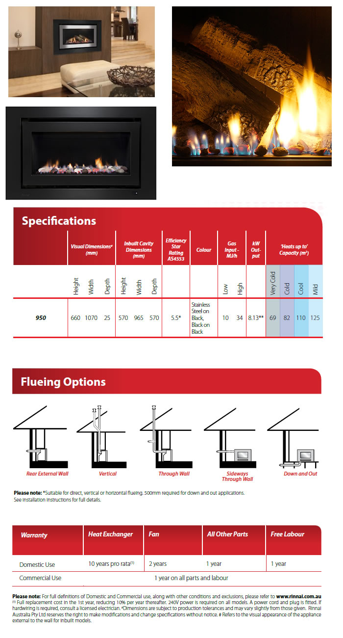 Rinnai 950 Gas Log Flame Fire specifications