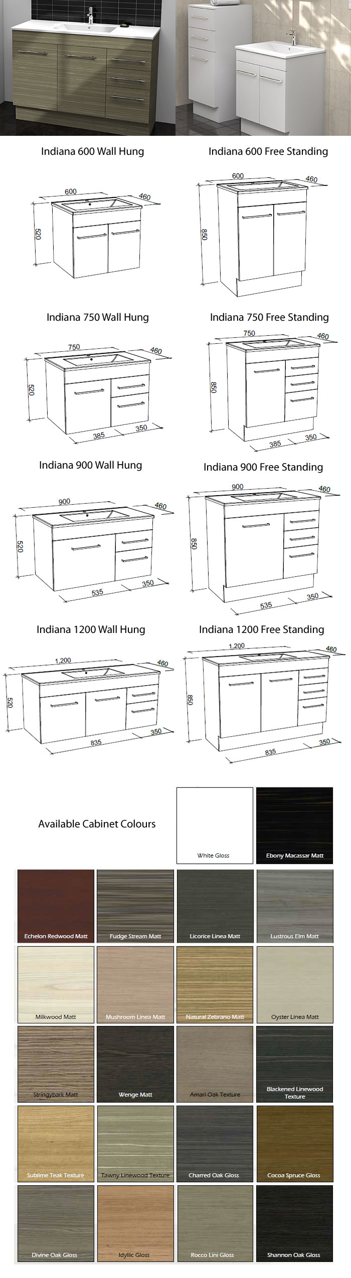 Timberline Indiana Vanity Cabinet specifications