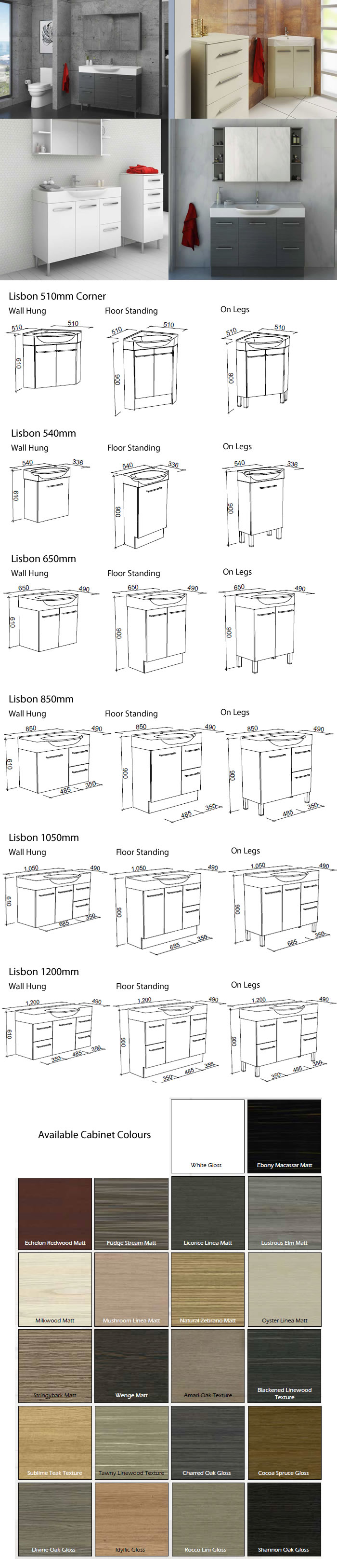 Timberline Lisbon Vanity Cabinet specifications