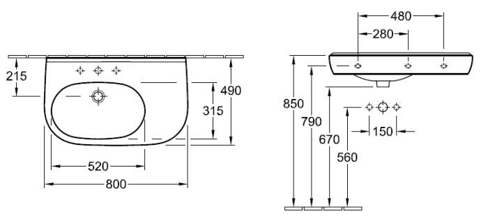 Villeroy & Boch O.novo Asymetric Wall Basin specifications
