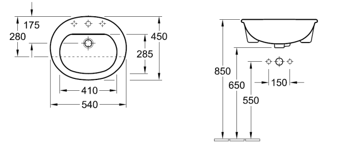 Villeroy & Boch O.novo Semi Recessed Basin specifications
