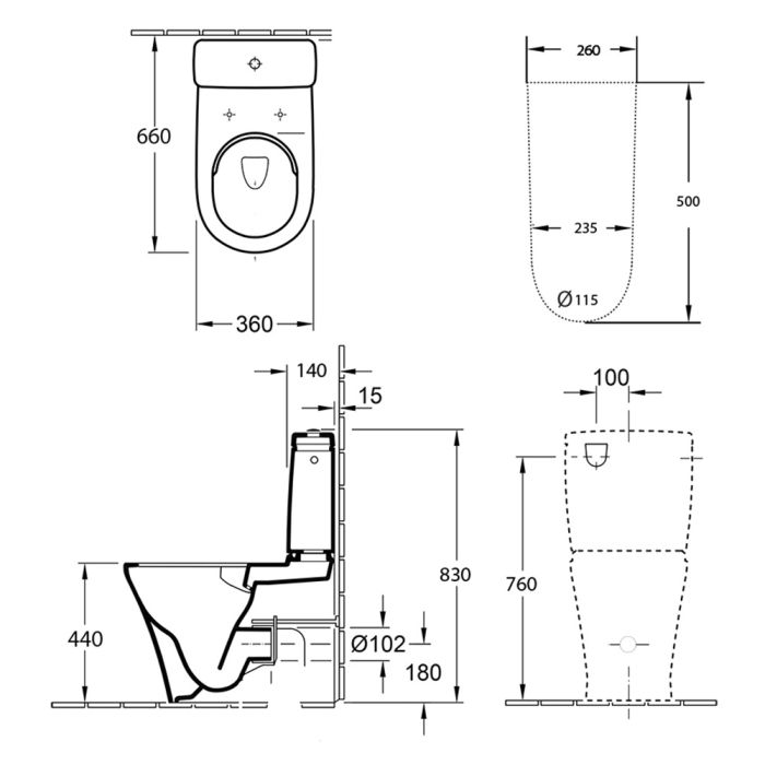 Villeroy & Boch O.Novo 2.0 BTW Toilet Suite (S-Trap) specifications
